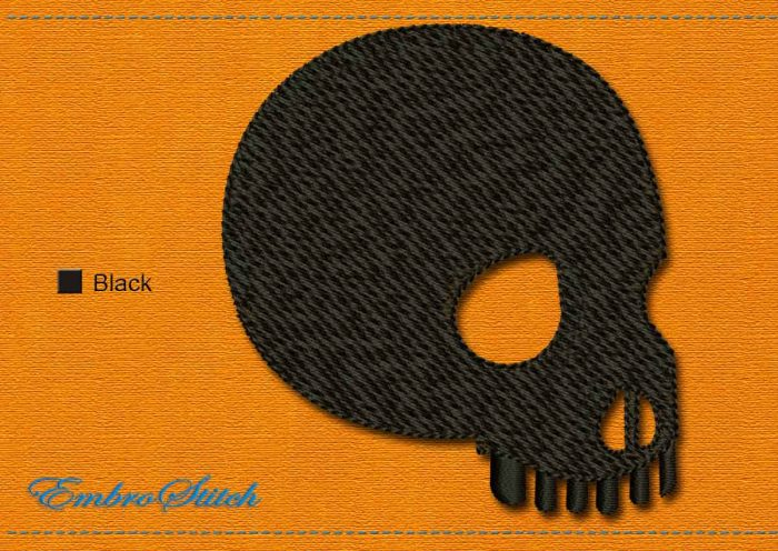 This Skull Halloween design was digitized and embroidered by Embrostitch studio