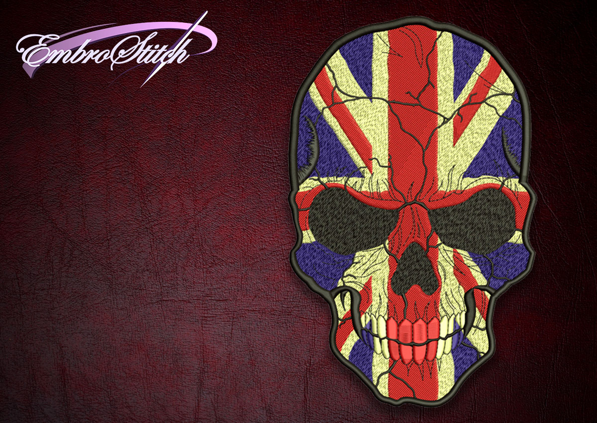 The high quality embroidery design Biker patch skull with UK flag