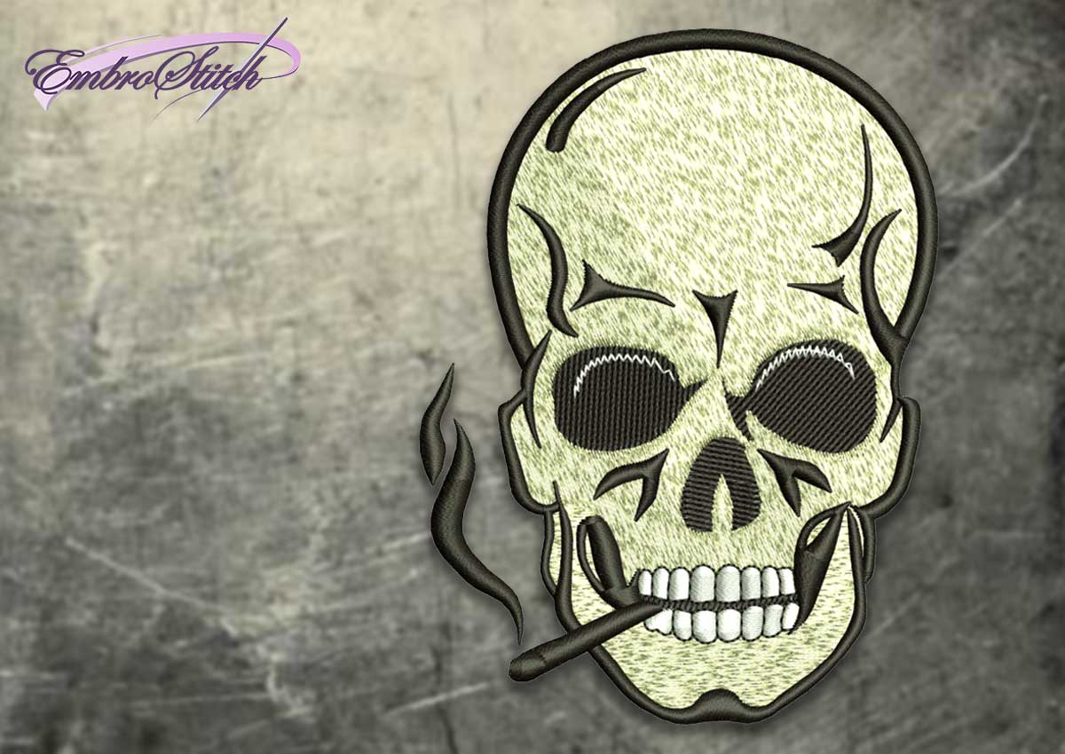 The embroidery design Skull with cigar