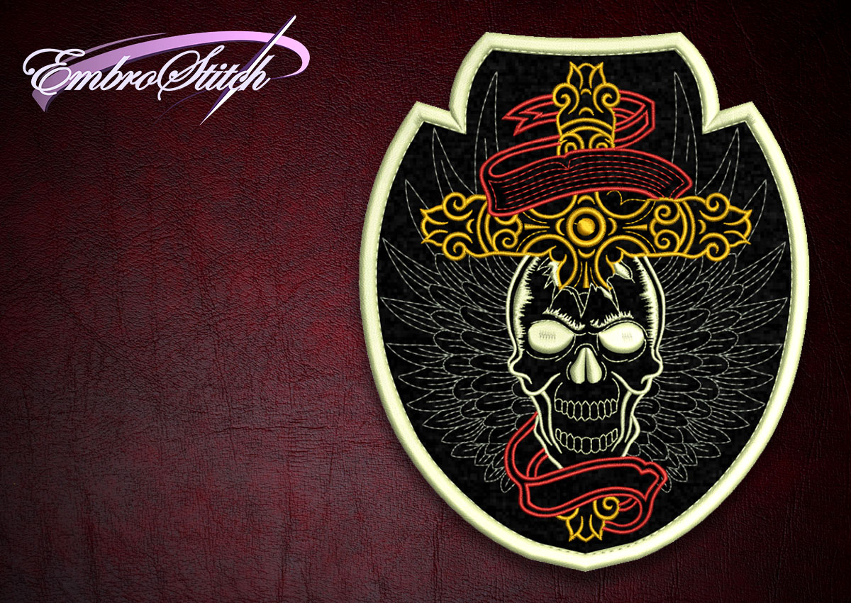 Cross Skull Biker Patch Embroidery Design 3 Sizes 8 Formats