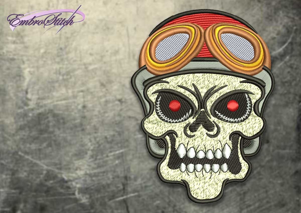 The embroidery design Skull with goggles