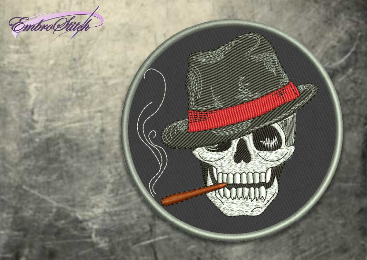The embroidery design Skull with hat