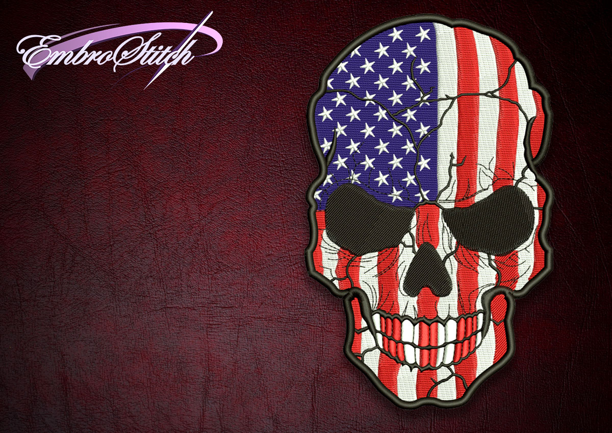The high quality embroidery design Biker patch skull with USA flag
