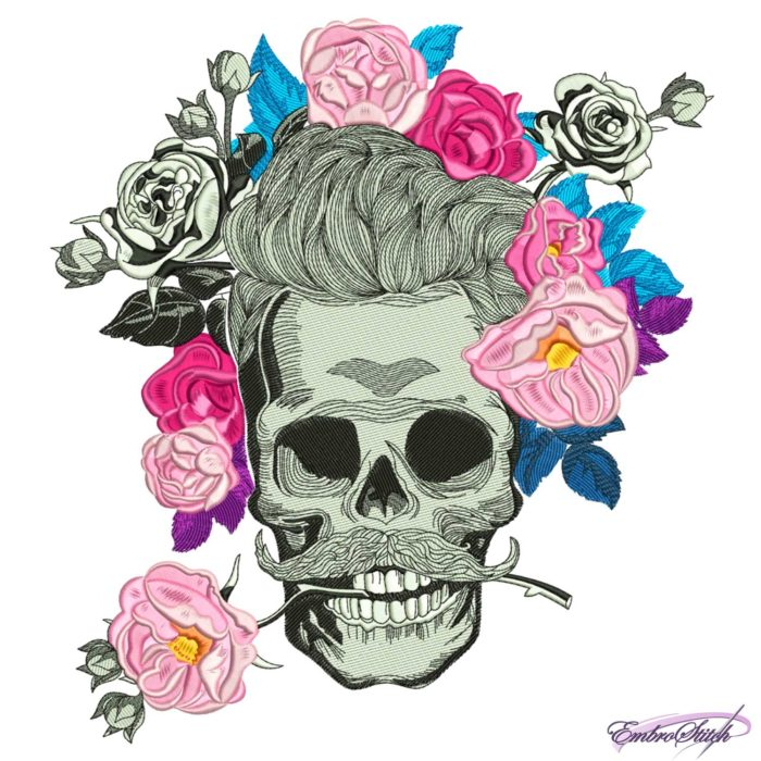 Skull with Whiskers in Flowers