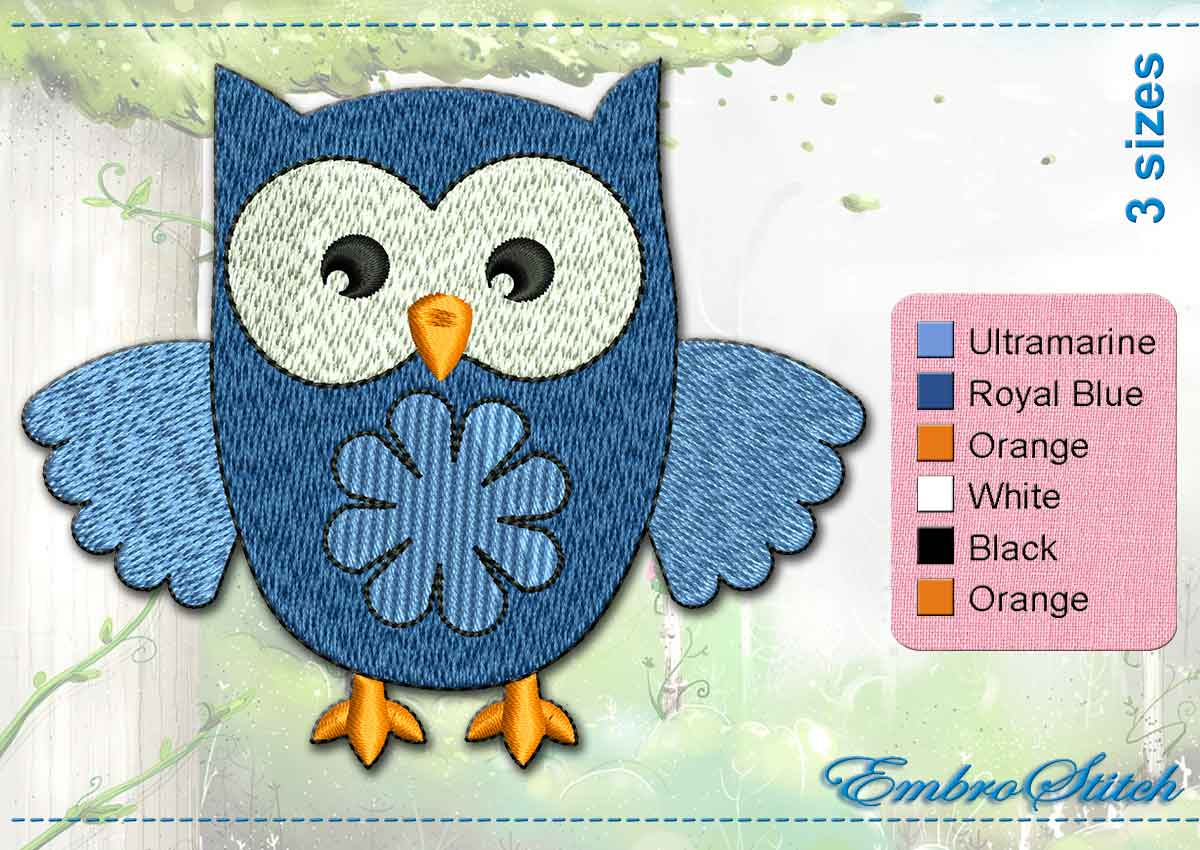 This Sky Blue Owl design was digitized and embroidered by Embrostitch studio