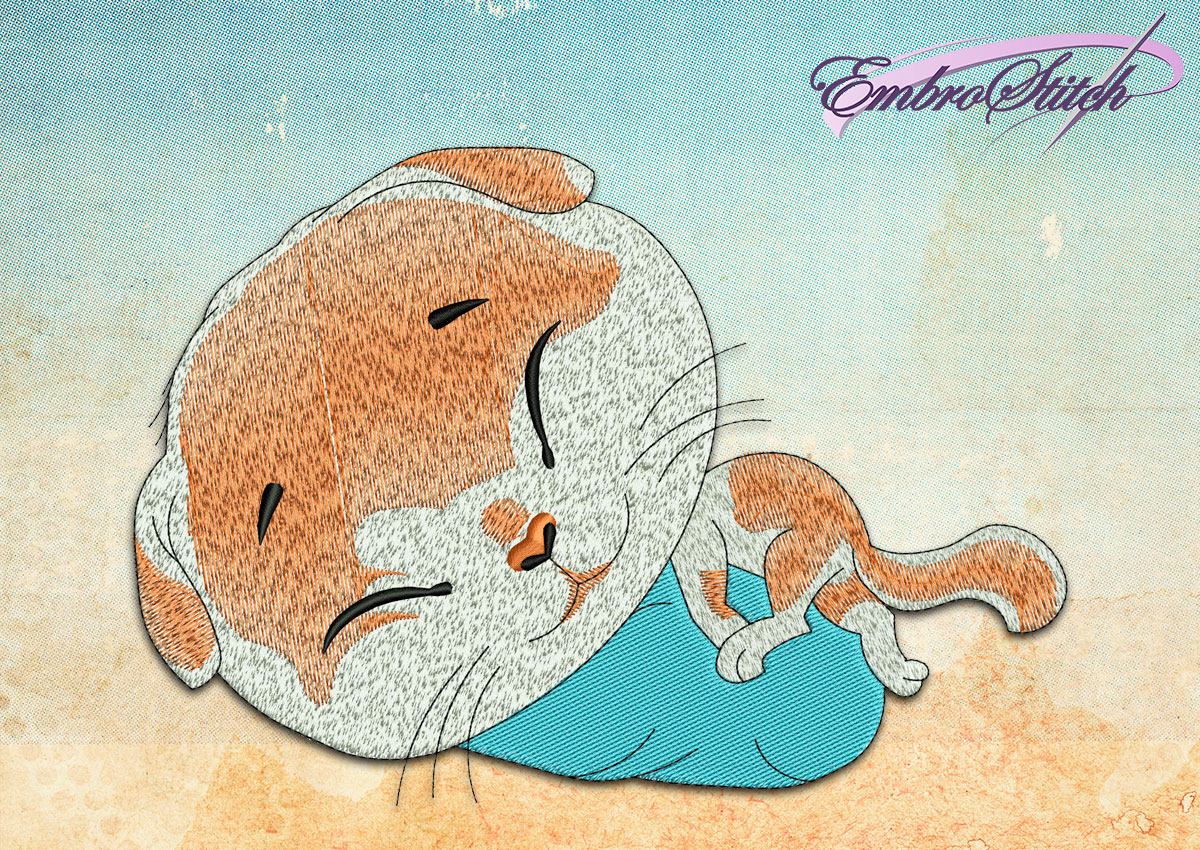 This Sleeping Cat design was digitized and embroidered by Embrostitch studio