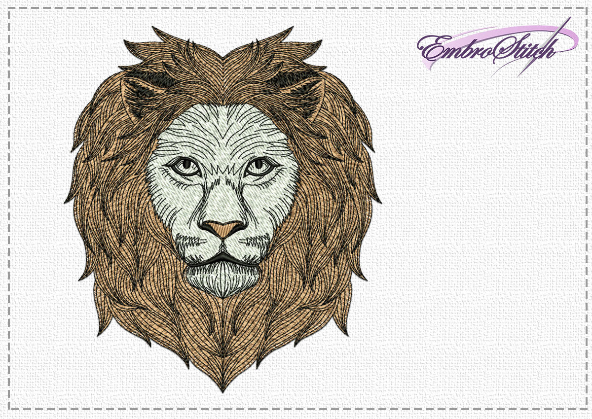 The high quality embroidery design Smart lion