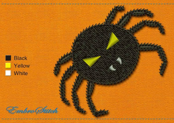 This Spider Halloween design was digitized and embroidered by Embrostitch studio