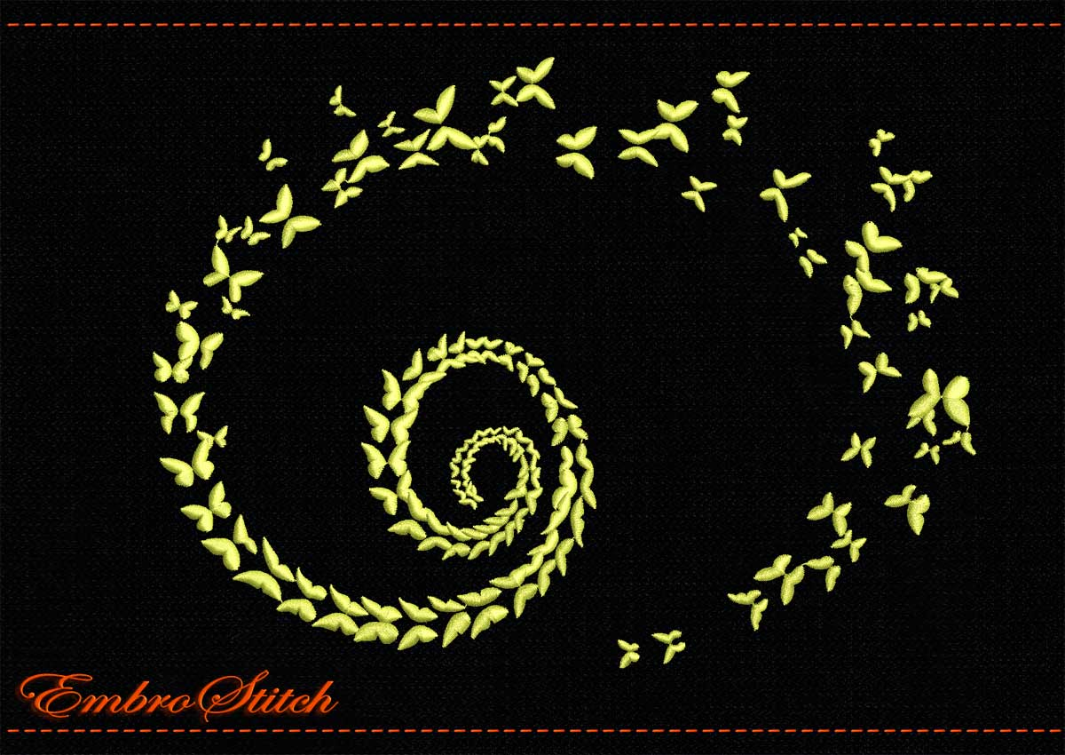 This Spiral Butterflies Mono design was digitized and embroidered by Embrostitch studio