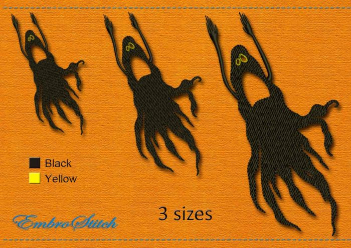 This Spirit Halloween design was digitized and embroidered by Embrostitch studio