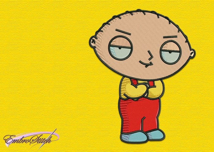 This embroidery design depicts Stewie in a classic way.