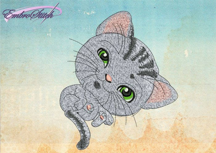 This Striped Kitten design was digitized and embroidered by Embrostitch studio