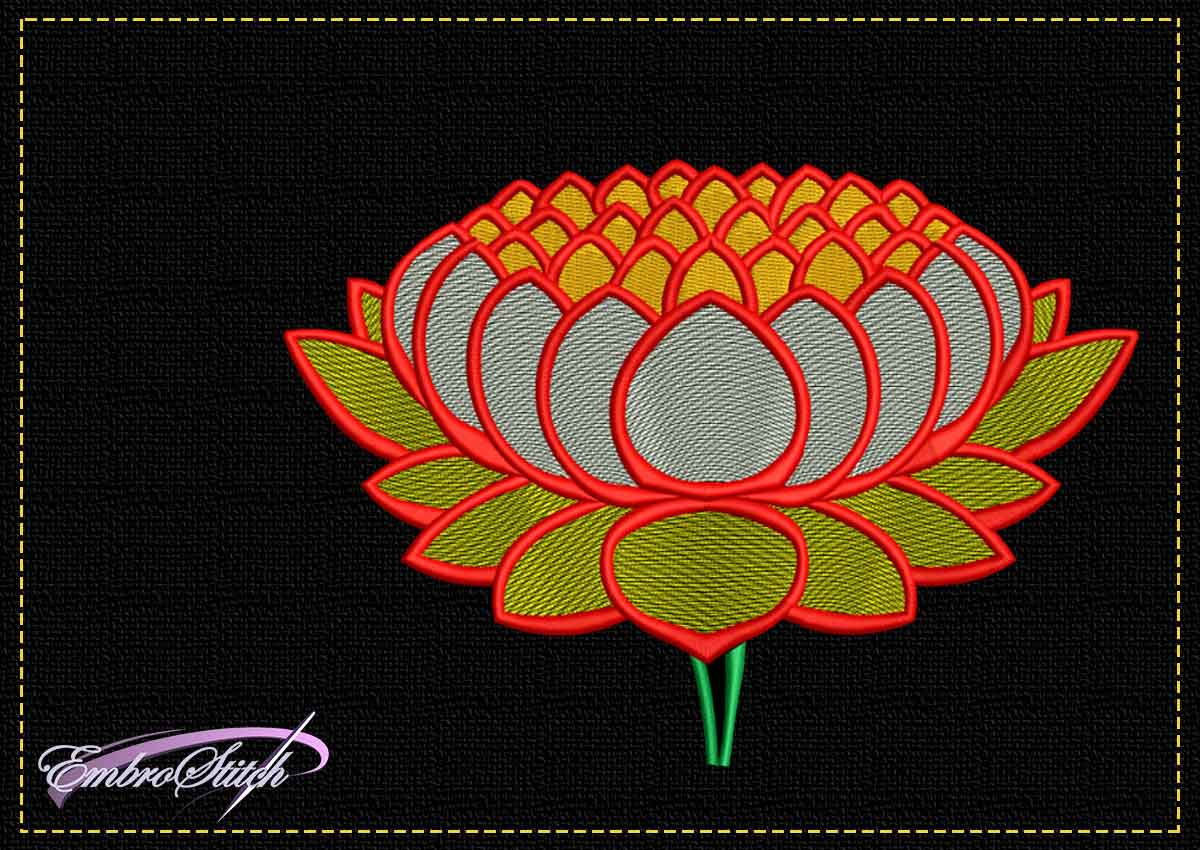 The tender embroidery design Sunny lotus