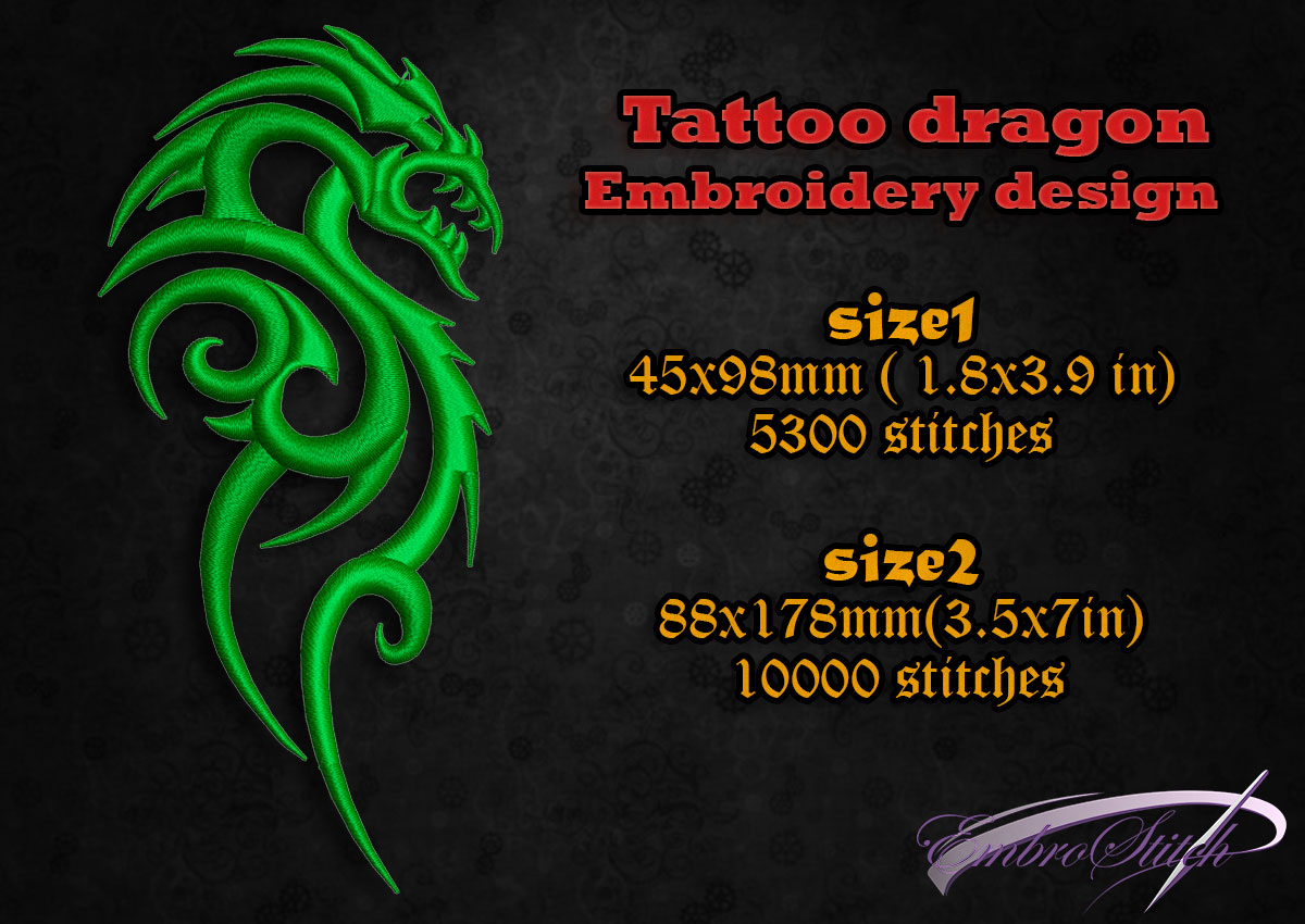 This is embroidery design Tattoo Dragon