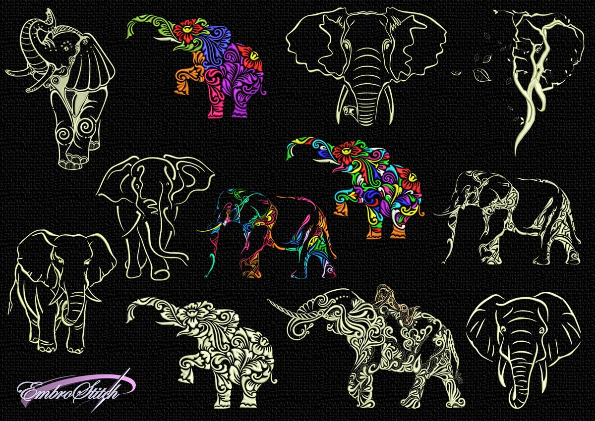 The pack of embroidery designs Tattoo elephant