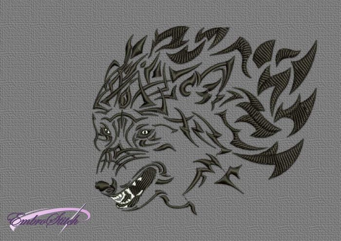 The embroidery design Tattoo head of wolf was digitized and tested by EmbroStich team.