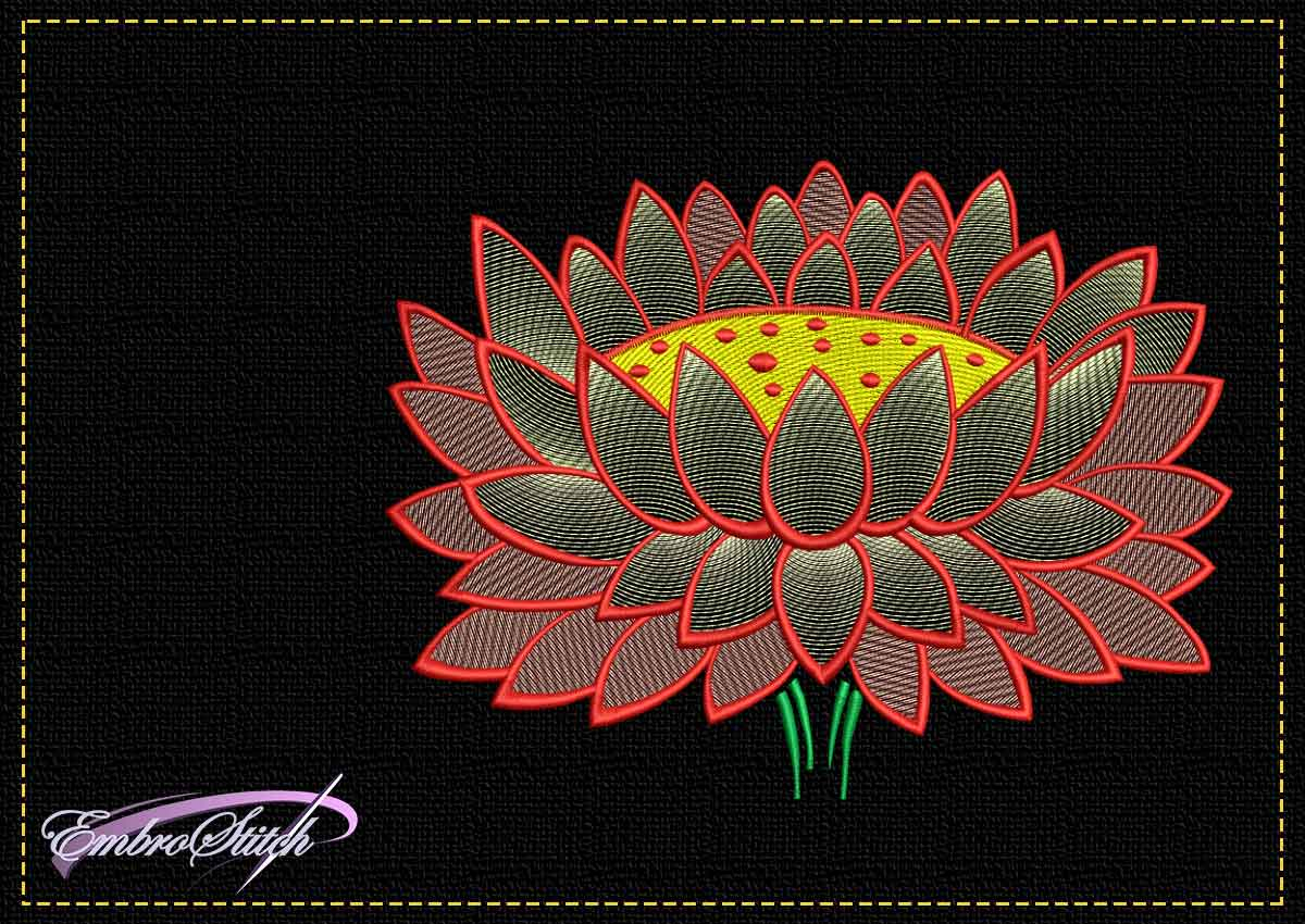 The tender embroidery design Tender lotus