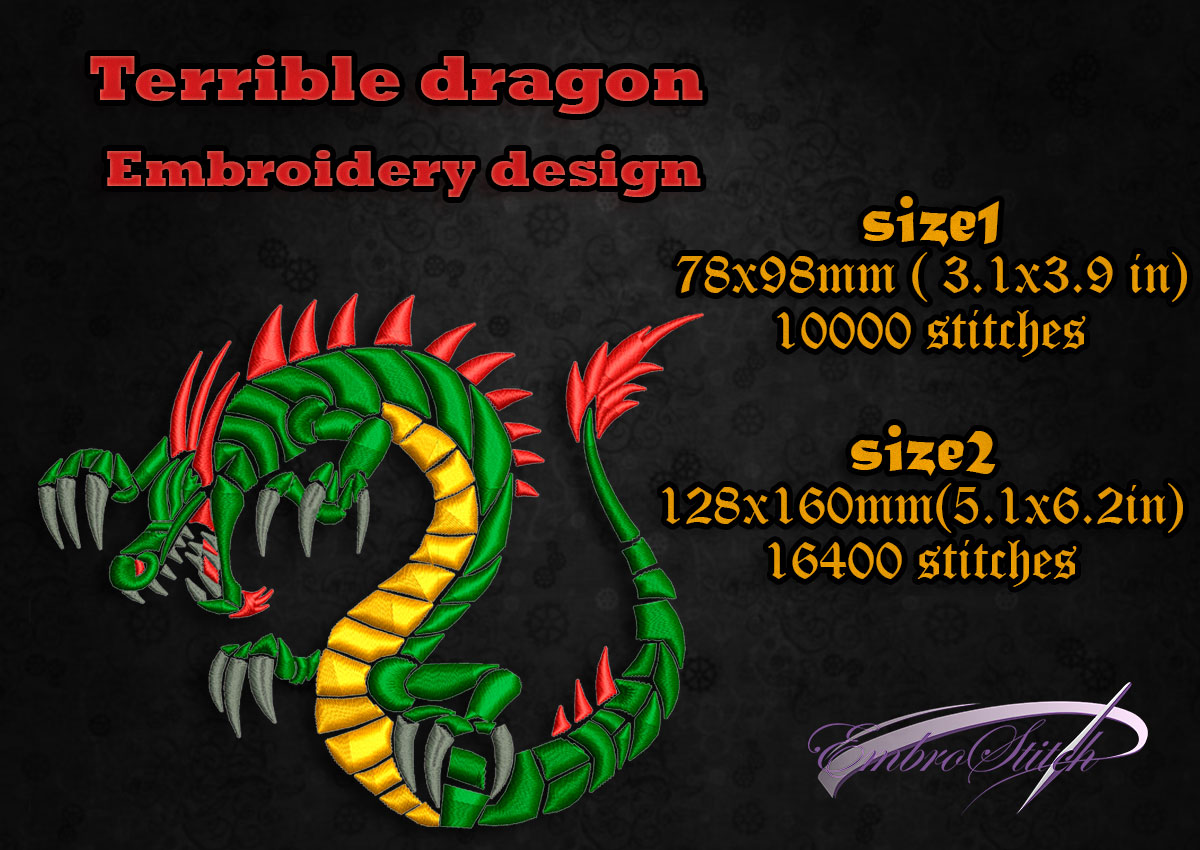 This is embroidery design Terrible Dragon