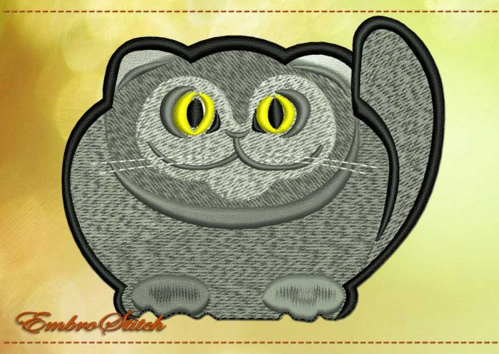 This Thick Kitten design was digitized and embroidered by Embrostitch studio