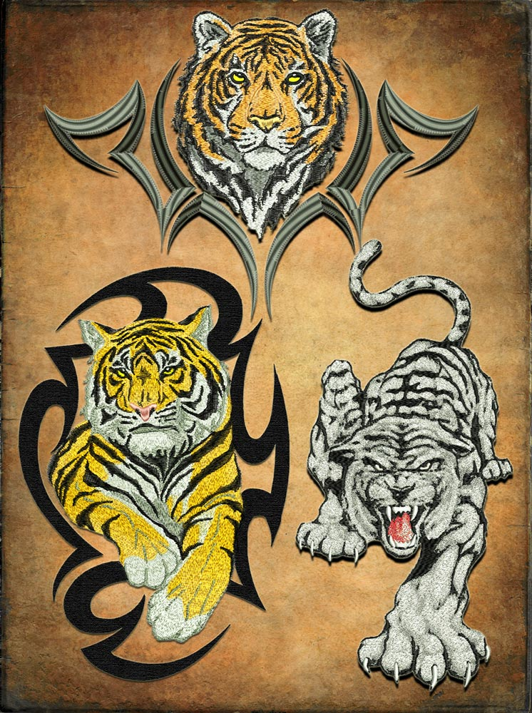 Tigers set embroidery design