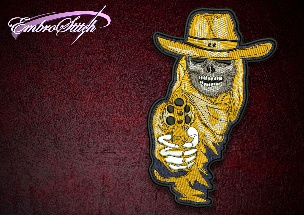 The high quality embroidery design Biker patch Toxic Skull