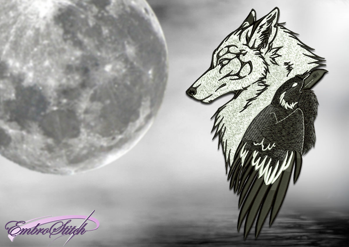 The embroidery design Tribal wolf with raven