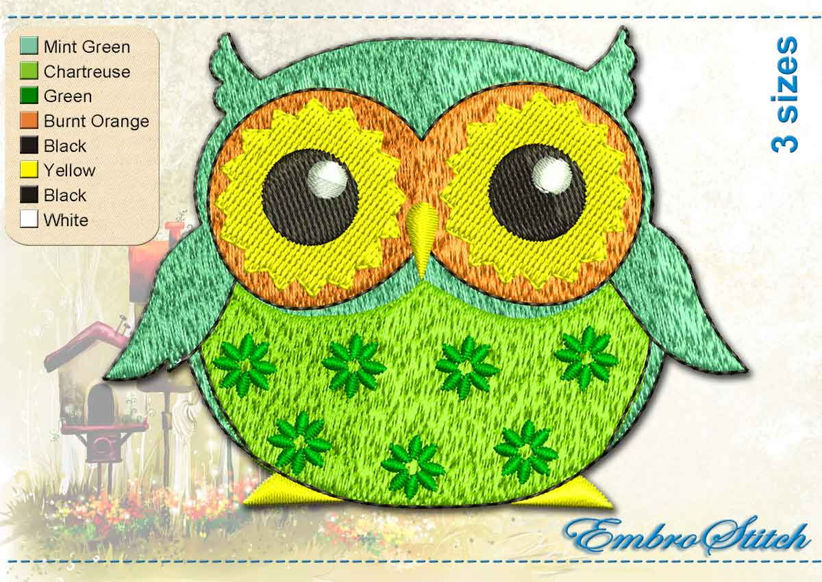 This Turquoise Owl design was digitized and embroidered by Embrostitch studio