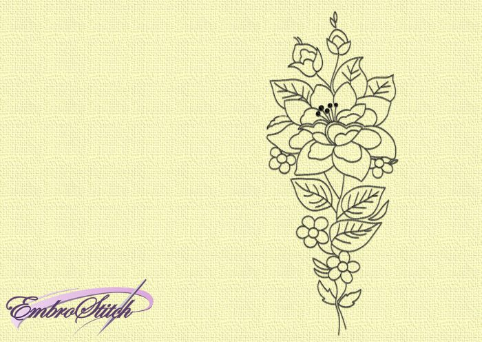 The embroidery design Unique flower will become beautiful decoration of clothes and interior textile.
