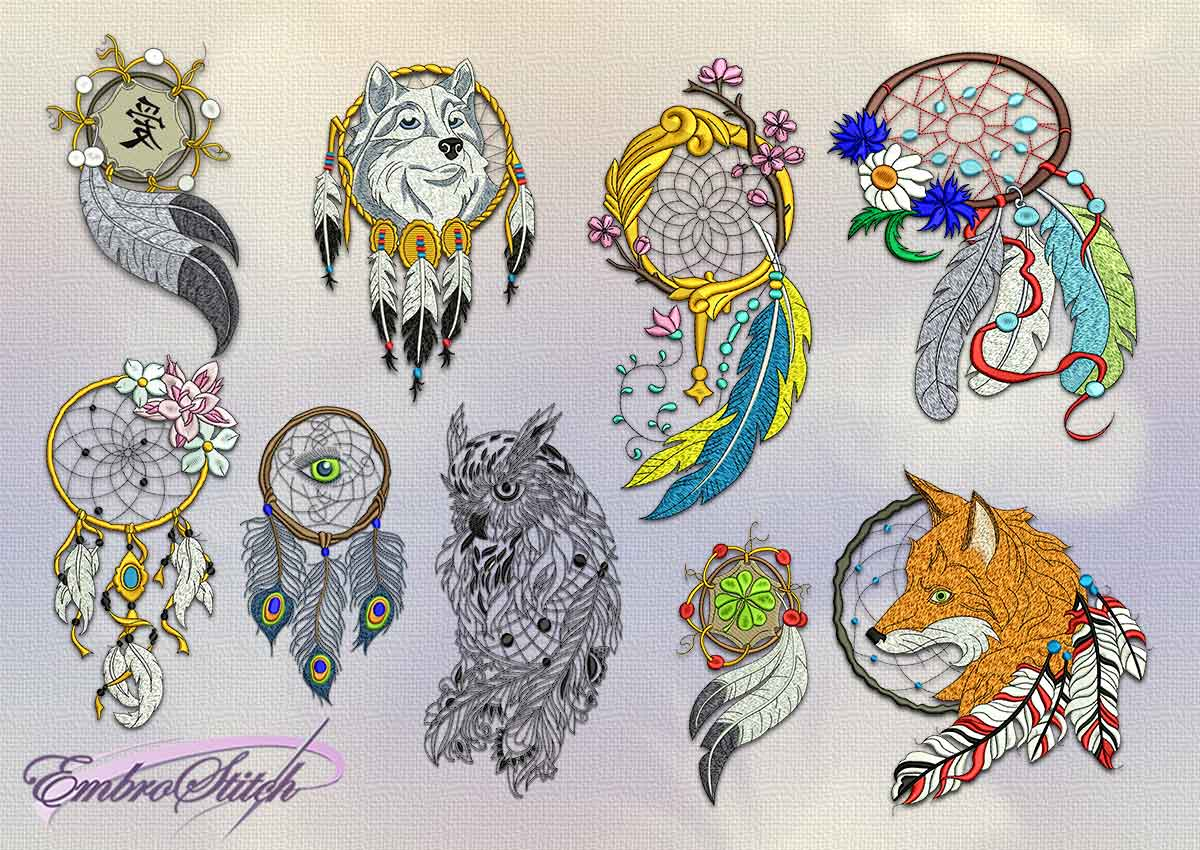 The pack of embroidery designs Various dreamcatchers (collection of 12)