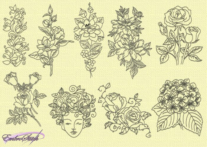 The pack of embroidery designs Various flowers is provided with 9 items, that were digitized in pencil-drawing style.