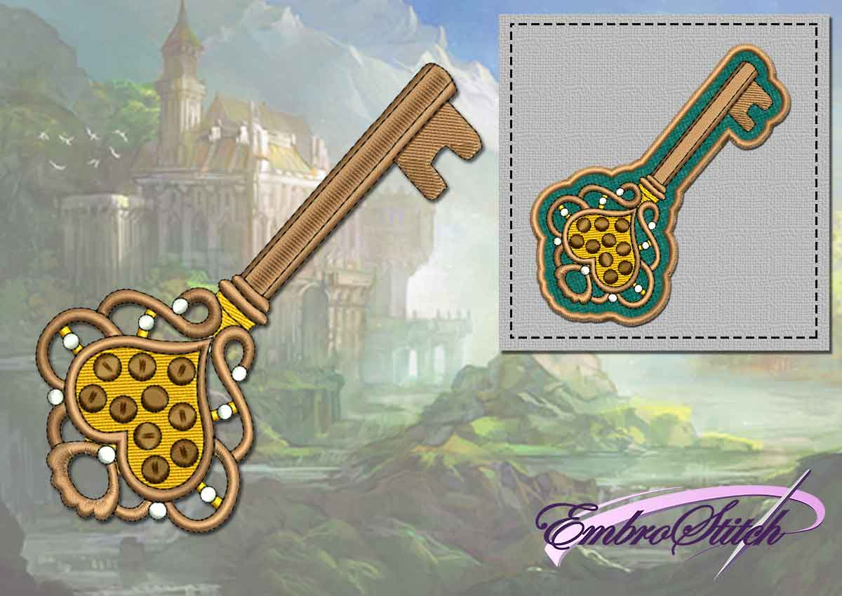 The embroidery design Vintage key