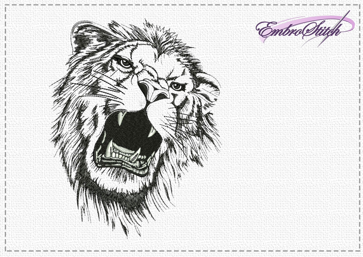 The high quality embroidery design Violent lion