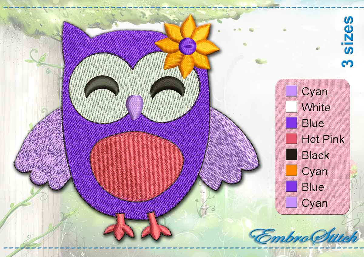 This Violet Owl Flower design was digitized and embroidered by Embrostitch studio