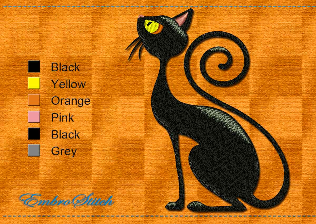 This Waiting Cat Halloween design was digitized and embroidered by Embrostitch studio
