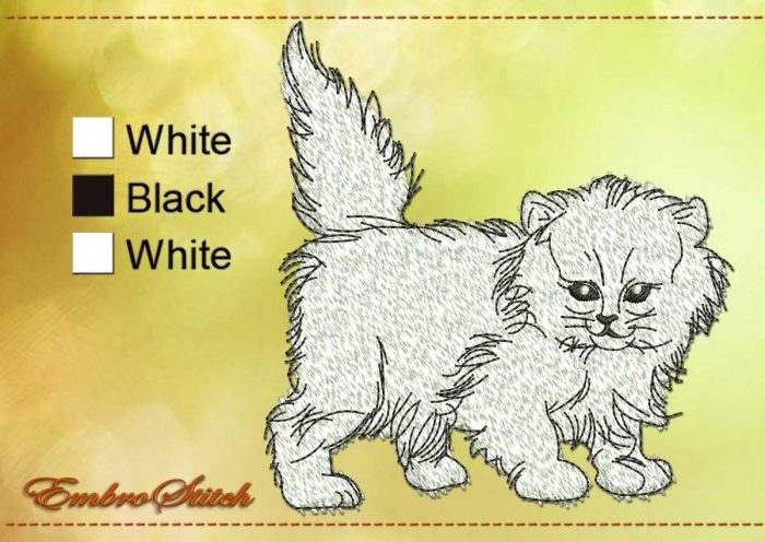 This White Fluffy Cat design was digitized and embroidered by Embrostitch studio
