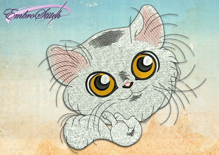 This White Playful Kitten design was digitized and embroidered by Embrostitch studio