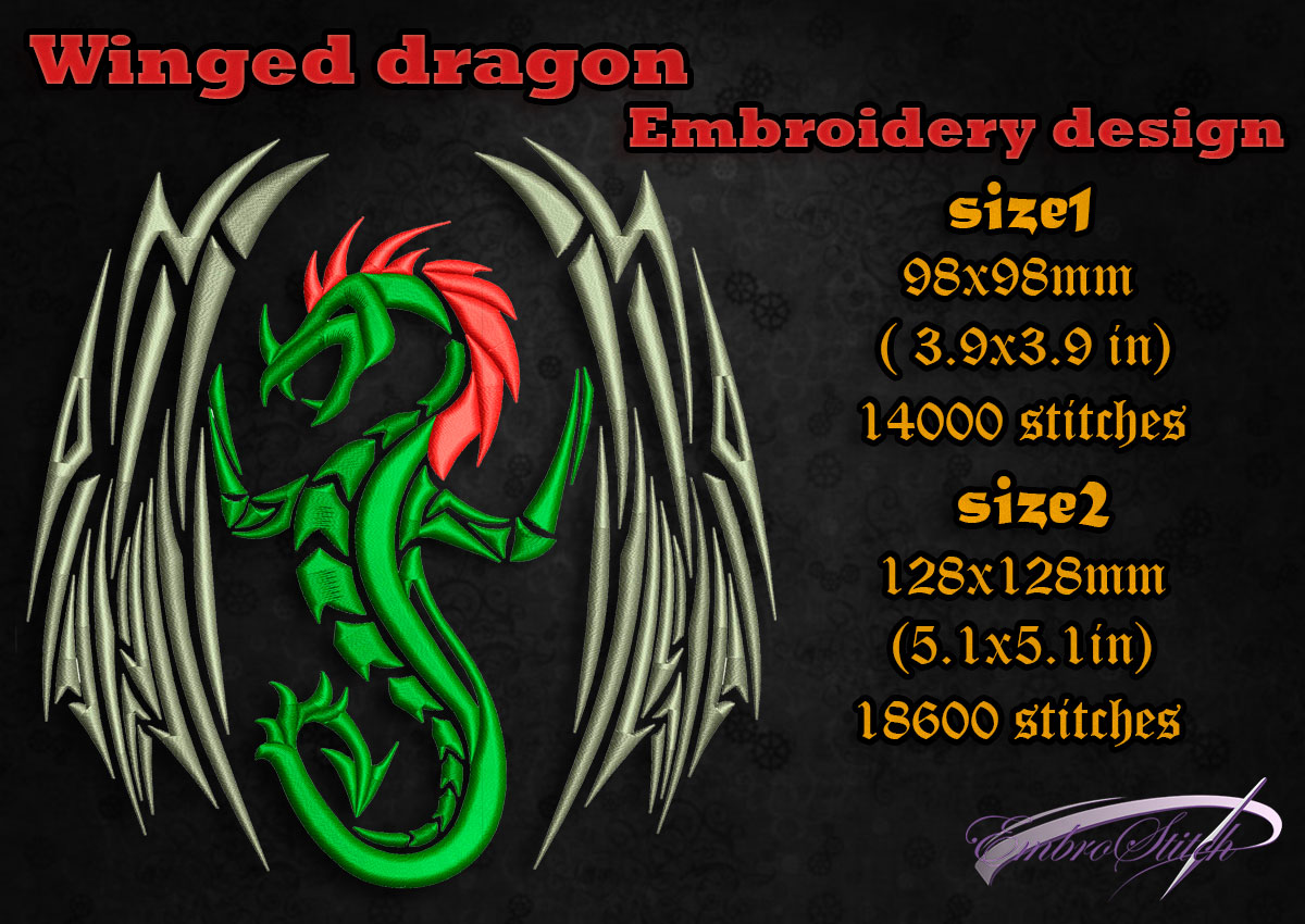 This is embroidery design Winged Dragon