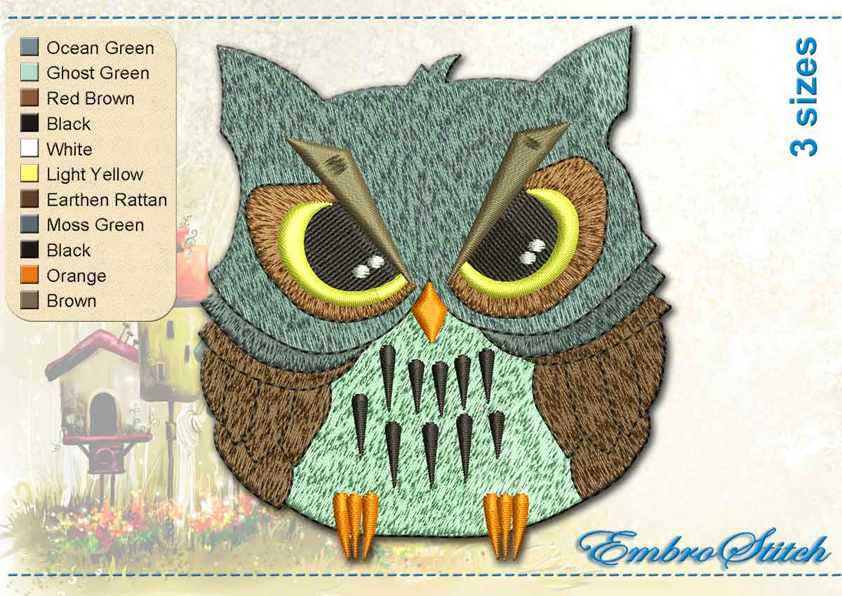 This Wise Owl design was digitized and embroidered by Embrostitch studio