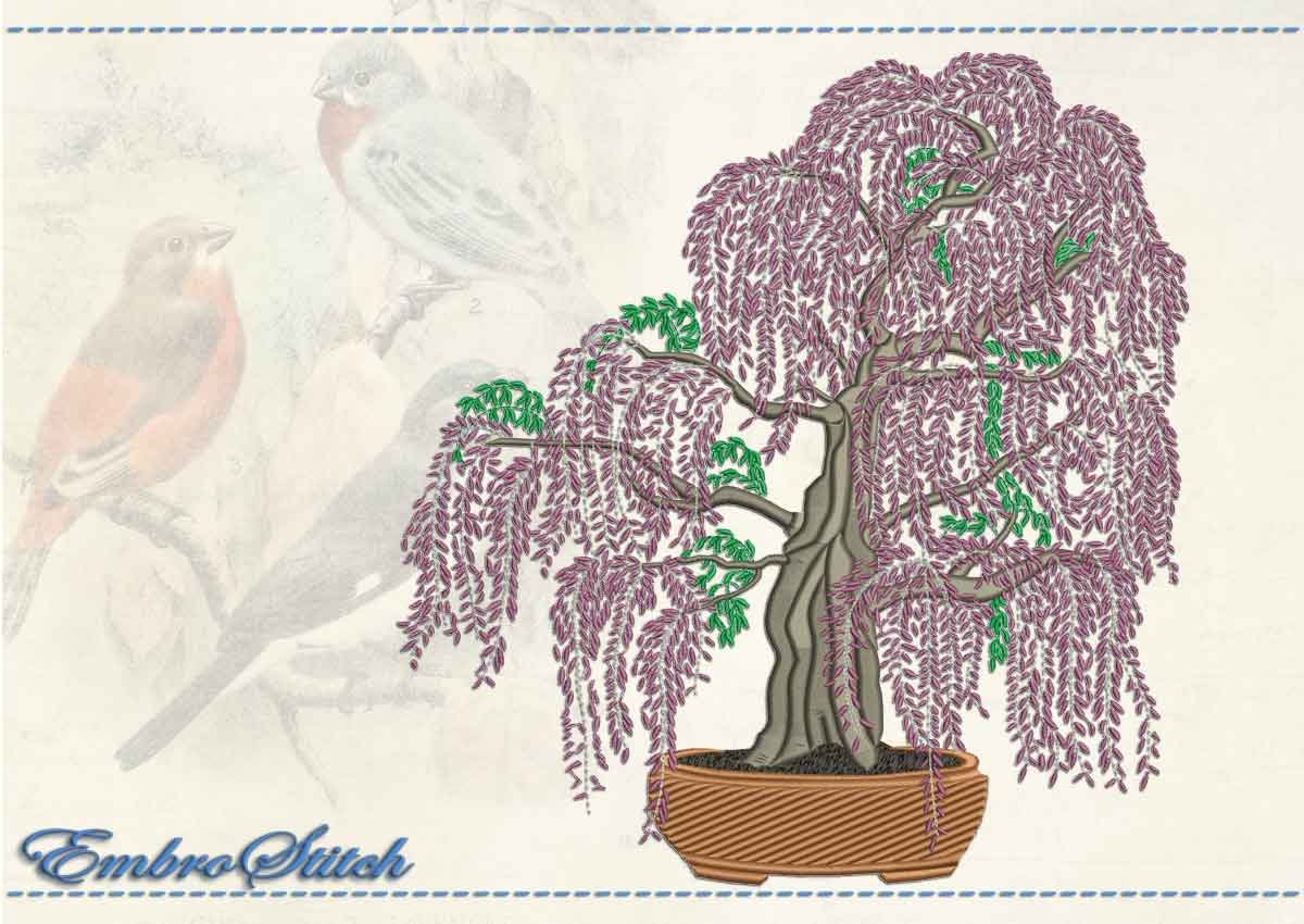 This Wistaria Bonsai design was digitized and embroidered by Embrostitch studio