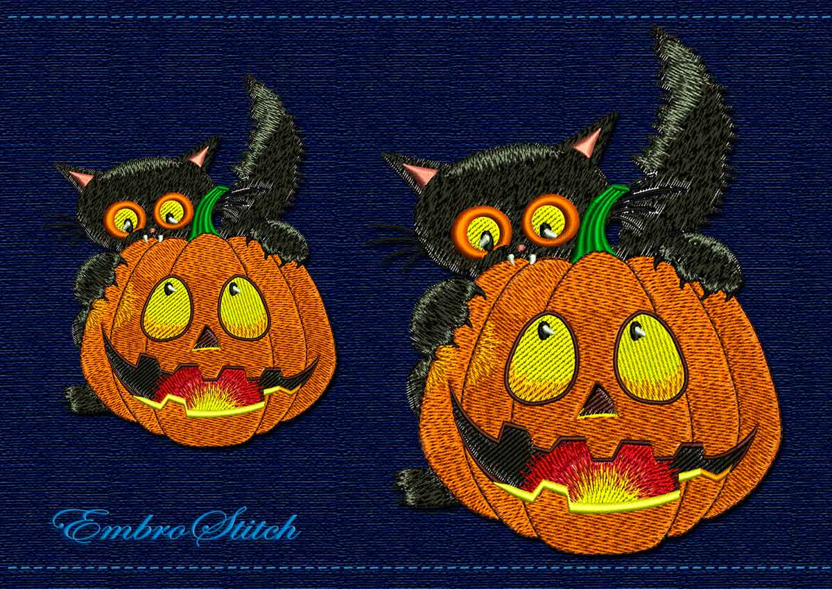 This Witch Cat Halloween design was digitized and embroidered by Embrostitch studio