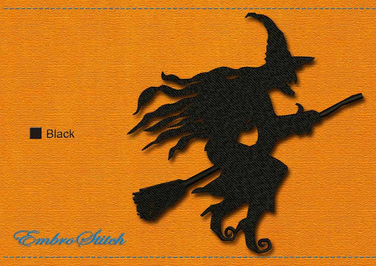 This Witch Flying Halloween design was digitized and embroidered by Embrostitch studio