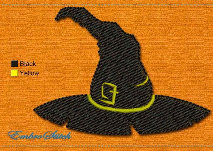 This Witch Hat Halloween design was digitized and embroidered by Embrostitch studio