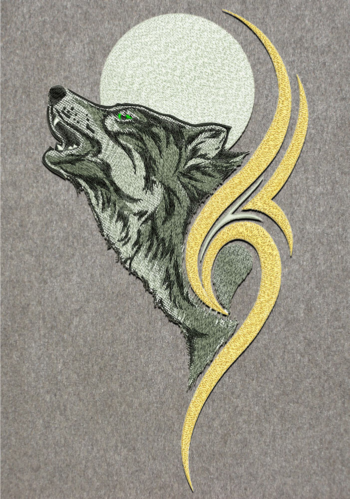 Wolf embroidery design