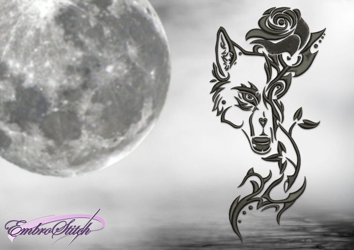 The embroidery design Wolf and rosen