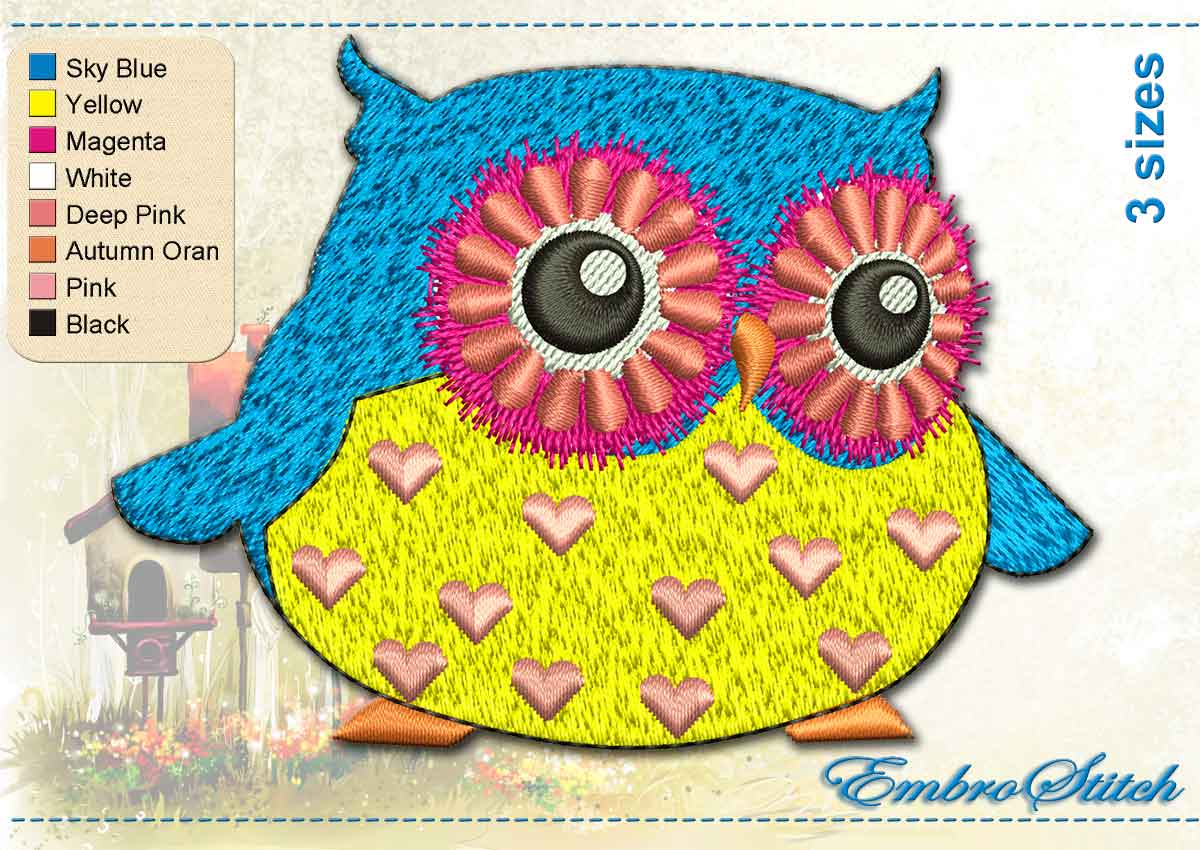 This Yellow Blue Owl design was digitized and embroidered by Embrostitch studio