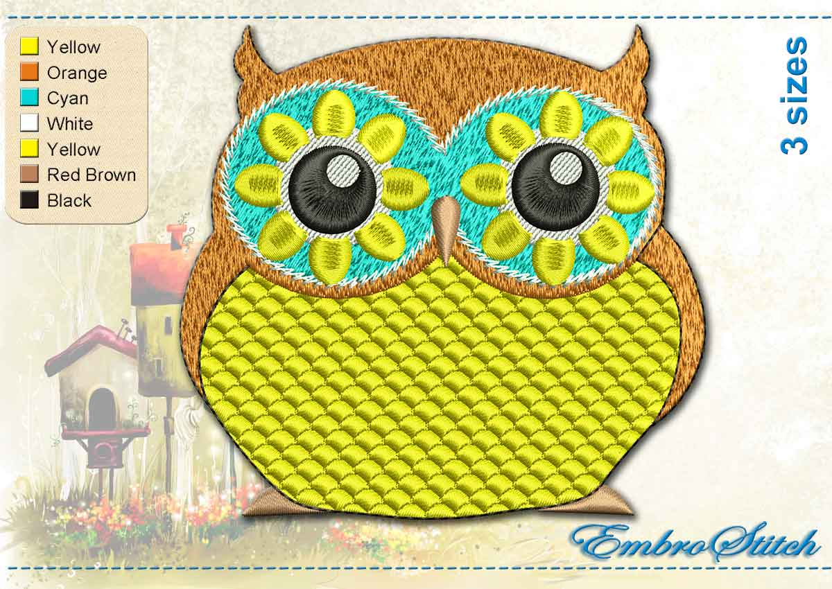 This Yellow Owl design was digitized and embroidered by Embrostitch studio