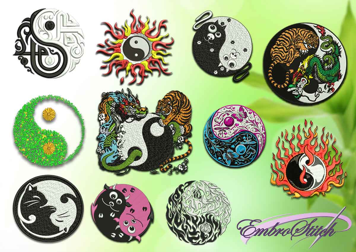 The pack of embroidery designs depicts Yin Yang