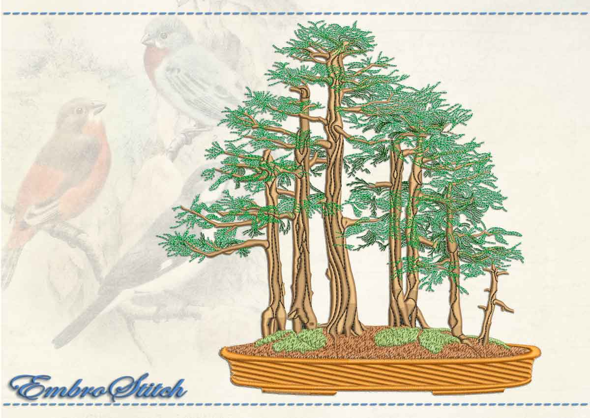 This Youse Ue Bonsai design was digitized and embroidered by Embrostitch studio